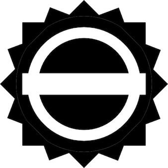 étiquette noire circulaire avec une bannière blanche
