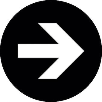 Flèche blanche vers la droite avec un fond noir