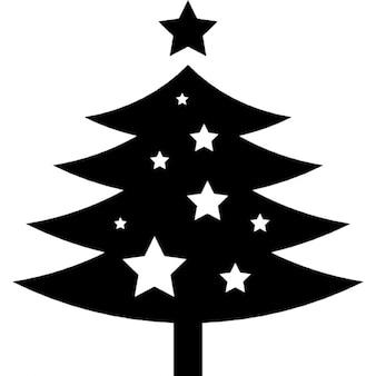 Forme d'arbre de Noël orné avec des étoiles