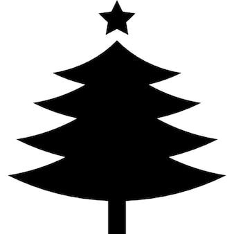 Forme de l'arbre de Noël avec une étoile sur le dessus fivepointed