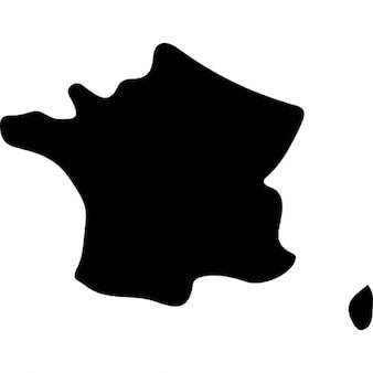France pays carte de forme noir