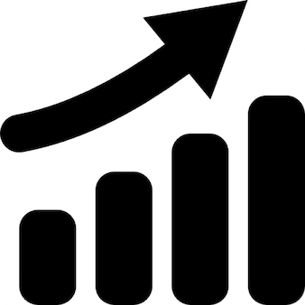 Hausse diagramme à barres avec flèche vers le haut