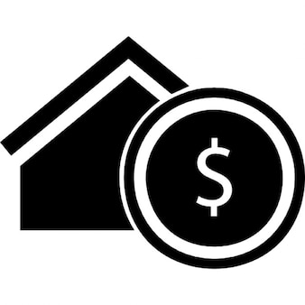 Immobilier symbole commercial d'une maison avec un signe dollar