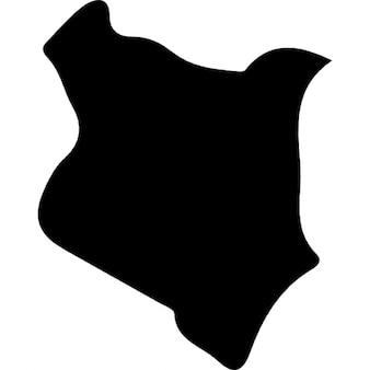 Kenya pays carte de forme noir