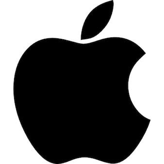 Logo de pomme de forme noir avec un trou de morsure
