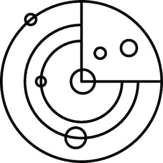 Modèle du système solaire avec des petits cercles comme des planètes