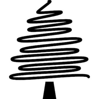 Noël dessin d'arbre avec un trait de crayon irrégulière