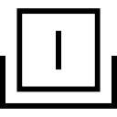 Symbole d'interface carré avec une ligne verticale à l'intérieur sur un plateau