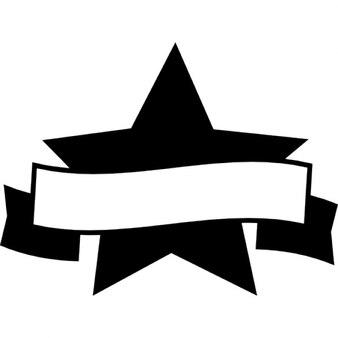 Symbole du prix de l'étoile fivepointed avec un ruban de bannière