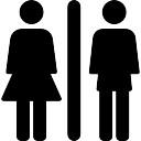 Toilettes signent avec femme et homme