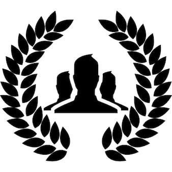 Utilisateurs du groupe avec silhouette couronne de frontière