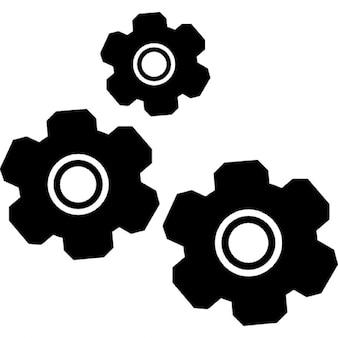 Ajustes de tres engranajes símbolo interfaz