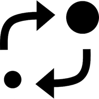 Análisis de símbolo de dos círculos de diferentes tamaños con dos flechas entre ellos