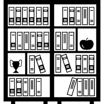 Biblioteca llena de libros un trofeo y una manzana