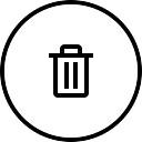Bote de basura circular botón esbozado