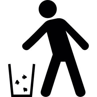 Contenedor hombre y la basura