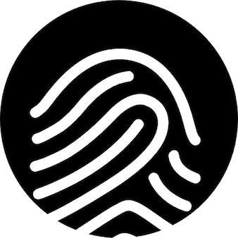 Contorno blanco sobre fondo negro de huellas dactilares