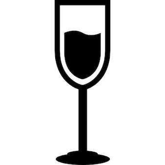 Copa de champaña con la bebida