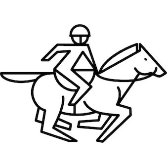 Corriendo caballo con corredor y el esquema silla