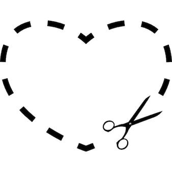 Corte de corazón de línea discontinua con unas tijeras pequeñas