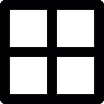 Cuadrado dividido en cuatro cuadrados o partes, ios símbolos interfaz 7