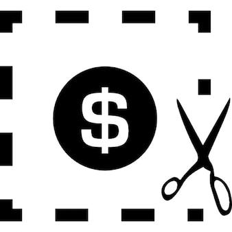 Dólar dinero signo en una plaza de línea quebrada con una tijera de corte