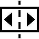 Dos flechas en un rectángulo dividido por la línea discontinua