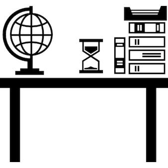 Escritorio de clase profesor con libros Pila globo de la tierra y el reloj de arena