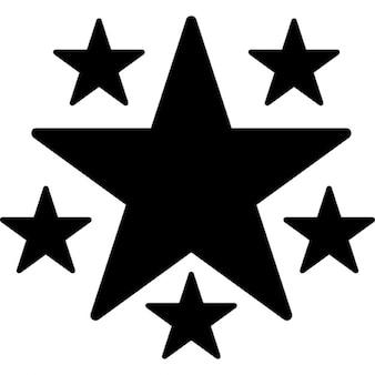 Estrella de forma fivepointed con cinco estrellas