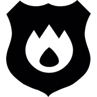 Fireguard símbolo, escudo con llamas