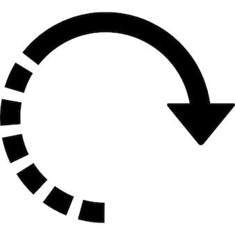 Flecha circular recto con la mitad de la línea discontinua