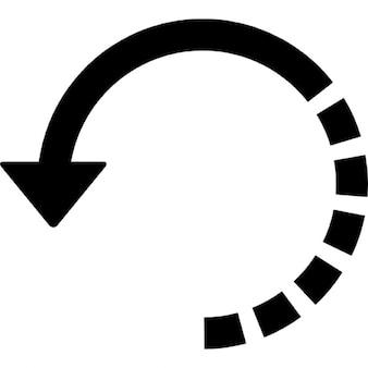 Flecha círculo con media línea quebrada