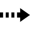 Flecha derecha de línea discontinua