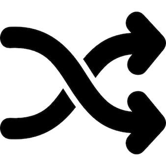 Flechas de reproducción aleatoria símbolo dibujado a mano