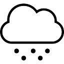 Fría símbolo de tiempo de accidente cerebrovascular nube y granizo o nieve cayendo puntos