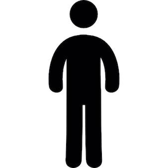 Frontal silueta del hombre de pie