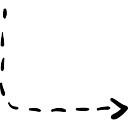 Gire la flecha derecha con línea discontinua