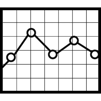 Gráfico de línea en el fondo a cuadros