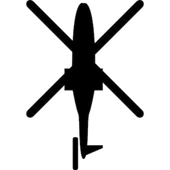 Helicóptero vista inferior silueta