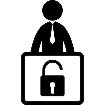 Hombre de negocios con el símbolo de desbloqueo