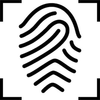 Huella digital con el foco en forma de cruz
