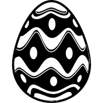 Huevo de Pascua con rombo irregular redondeado líneas con puntos en el centro de ellos