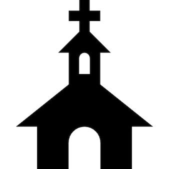 Iglesia silueta negro con una cruz en la parte superior