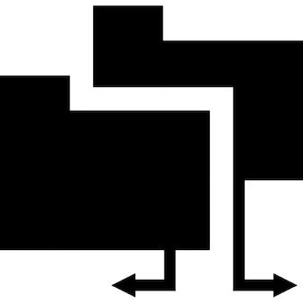 Interfaz de carpeta compartida símbolo de carpetas negras