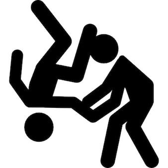 Judo olímpico silueta de pareja
