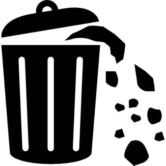 Lata de basura lleno de basura