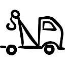 Línea trazada camión grúa mano