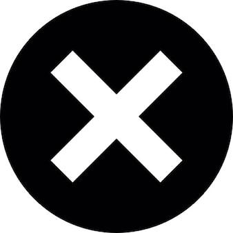 Marca de la cruz en el círculo de fondo negro