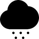 Nube de tormenta símbolo negro de tiempo con los puntos de granizo que cae