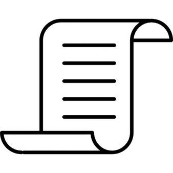 Papel con el texto y los bordes superior e inferior curvados